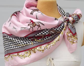 Vintage Silk Scarf For The Horse Lover