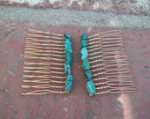Turquoise & Gold Hair Combs, Two (2) Small Gold Hair Combs, Genuine Turquoise Gemstone Chips, Wire Wrapped Accessories, Hair Jewelry