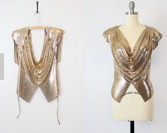 Whiting & Davis Gold Mesh Disco Top! Unique and Amazing!