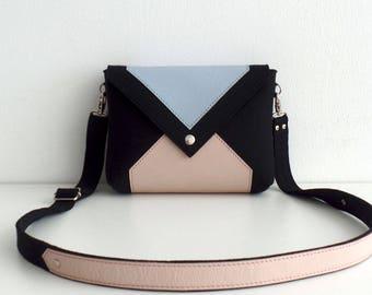Felt Leather Crossbody Bag Black Pink Blue