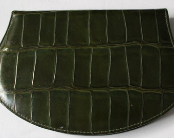 Vintage  GREEN Leather VANITY SET    Made in Germany    Lovely item