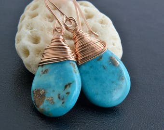 Turquoise Earrings, 14K Rose Gold Filled, Sleeping Beauty, Rose Gold Jewelry, Blue Natural Gemstone, Handmade, Wire Wrapped