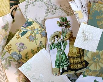 Vintage Wallpaper Scrap Pack*Green Wallpaper Samples*25 Piece Wallpaper Pack