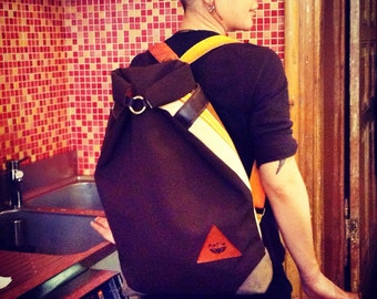 Corsica backpack, WATERPROOF, rolltop bike backpack. Chocolate brown and orange- brown- beige striped industrial canvas and recycled leather