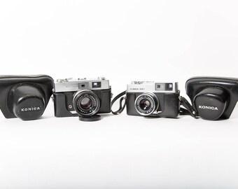 Konica Auto S and Auto S2 Camera Set 35mm Film 1970s Original Leather Cases