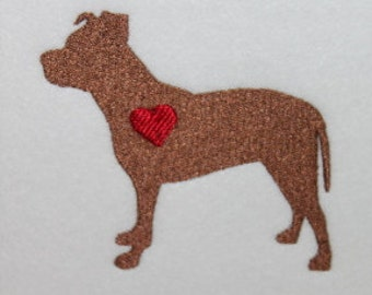 Pitbull with heart Machine Embroidery Design Dog Puppy Pit Pittie
