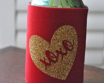 Valentine's Day Can Cooler - Valentine's Day Drink Hugger - Valentine Gift - Valentine Decoration - Valentine's Day Party - XOXO Can Cover