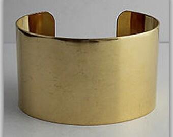 """1 Brass Cuff, 1 1/2"""" wide, Wide Cuff, Bracelet, Bangle"""