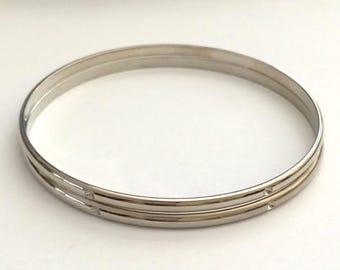 Silver Bangles, Rhinestone Bangles, Silver Bracelets, Silver Cuff, 2 pcs