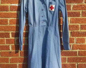 Vintage 1940's WWII American Red Cross Nurse Uniform // Blue Long Sleeve Volunteer Dress //  Hat Belt Included