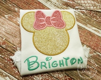 All Glitter Girl Mouse Golden Custom embroidered Disney Inspired Vacation Shirts for the Family! 911a