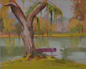 Park - Trees - Lake - Pond - Plein Air - Landscape - Oil Painting - Willow - Nature - Impressionism - Water - Restful - Serene - Green