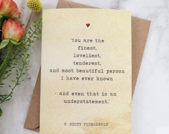 SALE Literature Valentines Card F.Scott Fitzgerald Quote - Love Card - Book Lover - Literary Greetings Card - Valentine's Day - Weddings