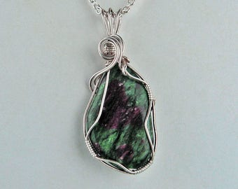Pendant, Ruby in Zoisite, Silver Swirls, Wire-Wrapped, Emerald Green, Ruby, Statement Necklace, Organic, Natural, Semi Precious Stone, Gift