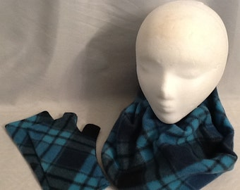 Teal and Black Plaid Fleece Cowl and Fingerless gloves