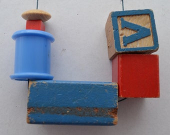 Vintage Upcycled Building Blocks and Found Objects Necklace