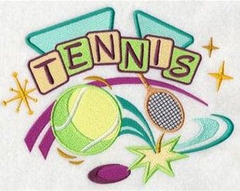 Retro Tennis Embroidered Towel | Flour Sack Towel | Linen Towel | Dish Towel | Kitchen Towel | Hand Towel | Tennis Towel | Tennis Player