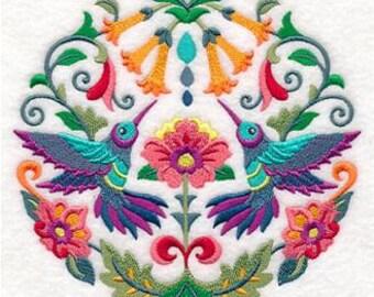 Sweet Symmetry Hummingbird Embroidered Towel | Flour Sack Towel | | Dish Towel | Kitchen Towel | Hand Towel | Embroidery