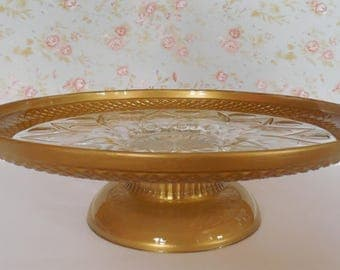 Gold Cake Stand / Gold Dessert Stand / Gold Cupcake Stand / Gold Glass Stand / Gold Wedding / Gold Baby Shower