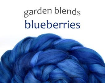 Blended Merino roving - spinning fiber - 100/3.5oz - dark blues - Garden Blends - BLUEBERRIES