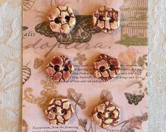 Handmade Ceramic Buttons Burgundy With A Lace Design ( Set Of 6 )