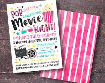 Movie Party Invitation, Movie Invitation, Movie Birthday Invitation, Backyard Movie Party, Backyard Movie Invitation, Summer Invitation