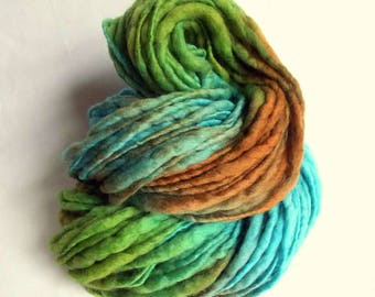 Thick and Thin yarn, chunky wool, turquoise blue, greens and pale browns, knitting yarn, chunky merino knitting wool, big knitting