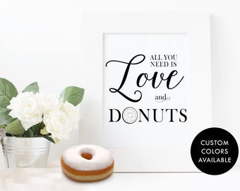 All You Need Is Love and Donuts - Wedding Sign - Digital Download