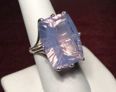 Lavender Moon Quartz Ring Huge Cocktail Ring Specialty Cut Sterling Silver Size 8