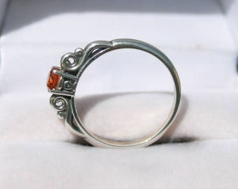 Hessonite Garnet Ring Sterling Silver Scroll Ring January Birthstone Size 7