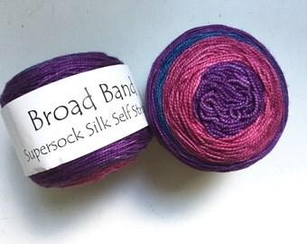45% Off Cherry Tree Hill Broad Band Supersock Silk Self Striping Fingering Superwash Merino Yarn Winterberry 354 Yards
