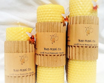 """6"""" x 2"""" 100% Pure Beeswax Solid Pillar Candle with Honeycomb"""