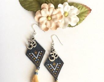 Blue Grey Seed Beaded Ohm Dangle Earrings with Satin Tassels