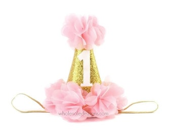 1st Birthday Party Hat  - Gold and Light Pink Party Hat Babies First Birthday - Baby Girl Photo Prop 1 Cone Sparkly Hat Chiffon Flowers 5.5""