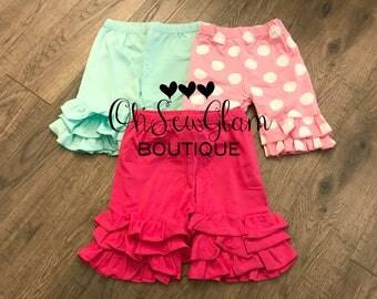 SALE - Girls in stock ruffle Shorts - Girls Custom Shorts - Ruffle Shorts- Pink Shorts - Aqua Shorts - Polka Dot Ruffle Shorts