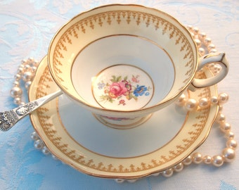 Antique Tea Cup Set | Vintage Teacup | Hammersley & Co. Tea Cup | Fine Bone China Teacup and Saucer Set | Shabby Chic  | Tea Set Gift
