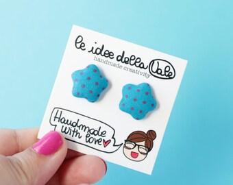 Star Earrings - Polka dots - Blue and dark Pink