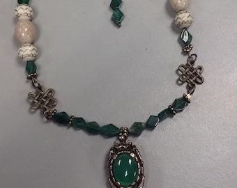 Antique Repurposed Brass and Adventurine Necklace