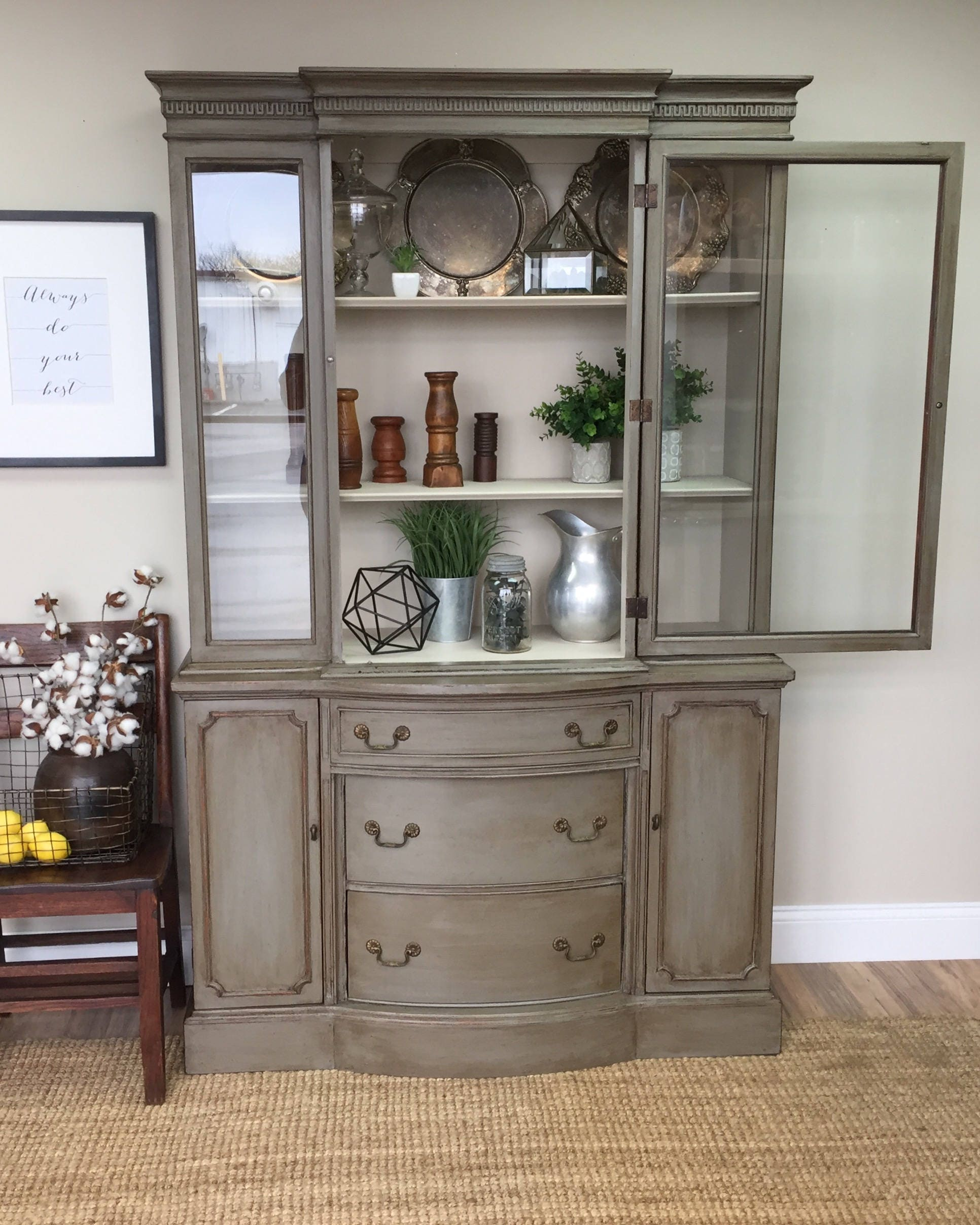 Antique Foyer Cabinet : Vintage china cabinet distressed furniture antique