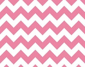 Medium Chevron Fabric, Riley Blake, Pink and White - 2 inches From Point To Point -  Cotton Yardage - Fat Quarter, Half, By The Yard