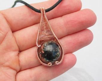 Orgone Pendant Wire Wrapped Pendant Black Tourmaline Selenite Shungite Pyrite Quartz Copper