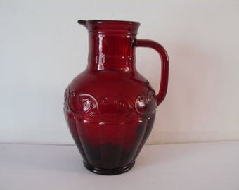 Skye McGhie Valencia Ruby Red Pitcher, Water Pitcher