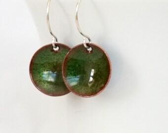 Green Enamel Disc Earrings - Dark Green, Metallic Green - Enamel Jewelry