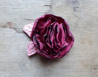 Cherry Red Satin Rose Hair Clip - Red Rose Flower Brooch - Red Flower Pin - by Fairytale Flower