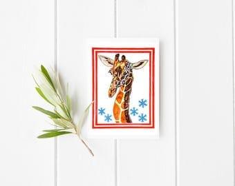 Giraffe and snowflakes Card, Giraffe card, thank you card, blank card, Giraffe greeting card, Giraffe blank card, Giraffe illustration