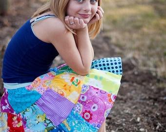 Little Girls Easter Skirt Little Girls Twirl Skirt Little Girls Patchwork Skirt Little Girls Rainbow Skirt Girls Colorful Skirt
