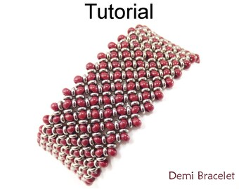 Beading Tutorial Pattern Bracelet - Right Angle Weave RAW - Toho Demi Beads - Simple Bead Patterns - Demi Bracelet #20043