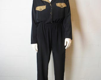 Vintage 80s / Early 90s black one piece jumper pants suit with cheetah animal print trim