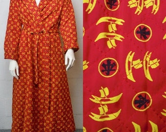 Vintage Lane Bryant Asian Symbol Print Red Robe House Coat