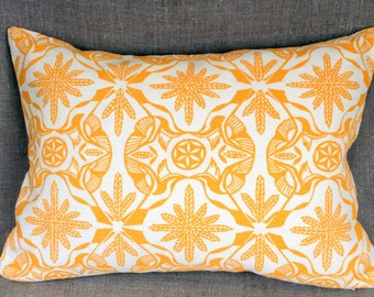 "Hand block printed 11""x 17"" linen pillow ""Persephone"" design Birds flying in wheat"
